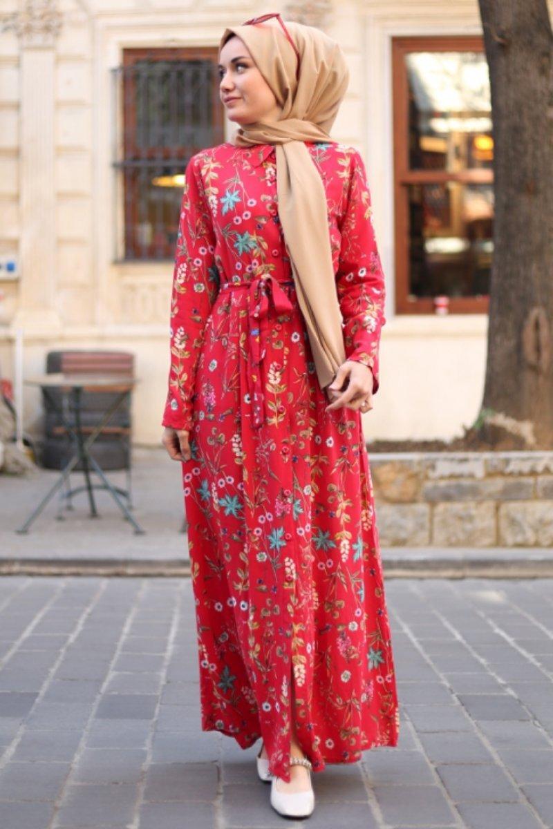 Nevruz Kırmızı Tropikal Elbise