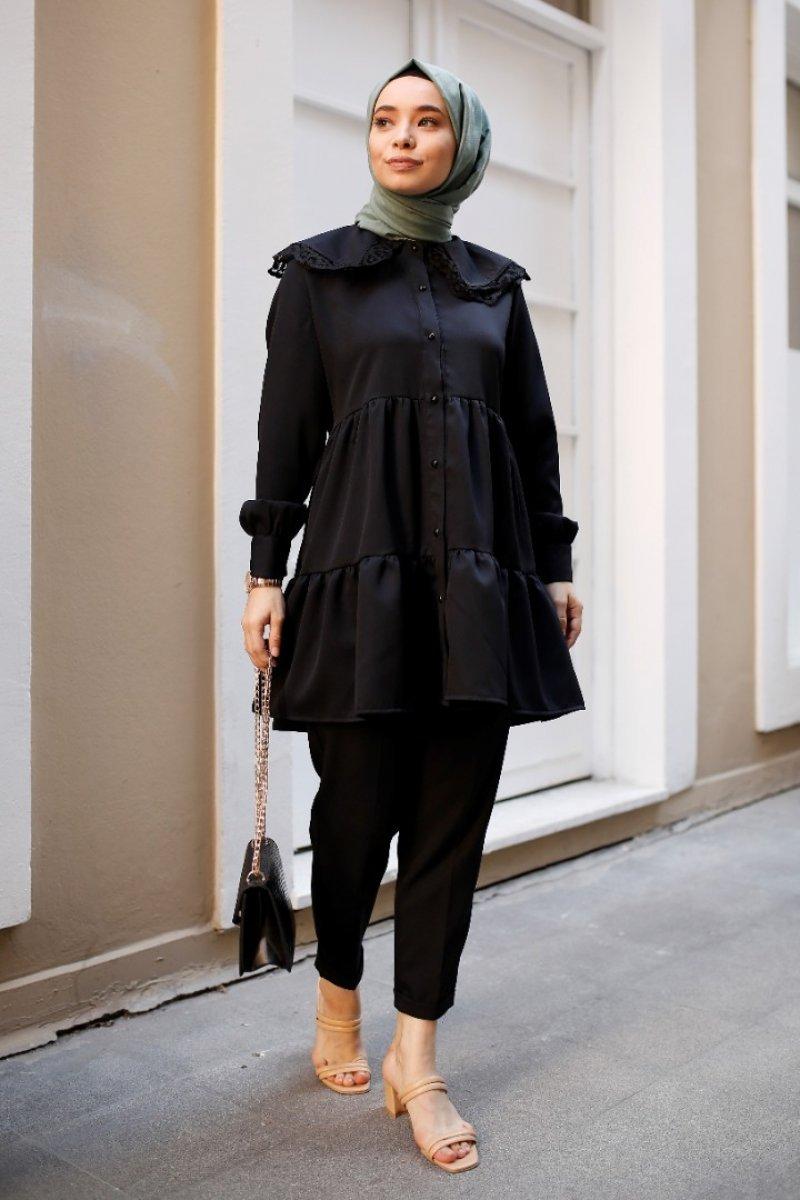Ruche Siyah Vintage Takım
